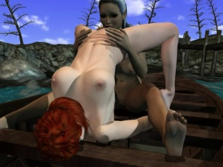 Lesbian girl caught on the act on a boat
