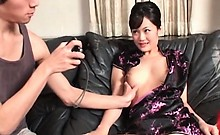 Sexy japanese in geisha outfit gets boobs squeezed