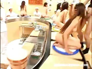 Porno Video of Conveyer Sushi Bukkake