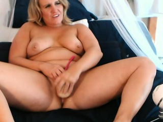 Thick Blonde Fucks Herself With A Huge Dildo