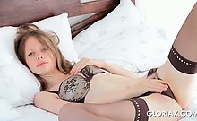 Hot stockinged Gloria rubbing pussy with her sexy panties