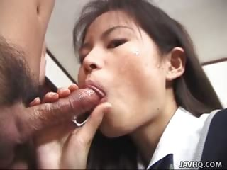Porn Tube of Skinny Schoolgirl Slut Risa Niiyama Wild Blowjob Action!