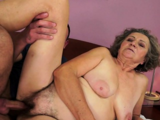 A Fluffy Grandmother Gets Oral Pleasure And Fucking