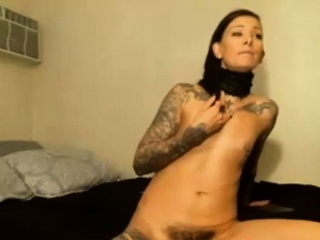 Slim Brunette With Tattoos Shows Bush On Camera