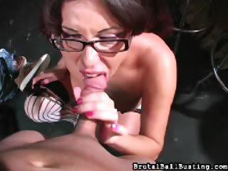Porn Tube of Nerdy Femdom Blowjob