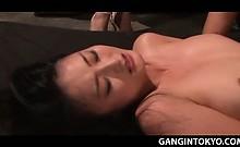 Busty naked tramp fucked hardcore in Tokyo nasty gangbang
