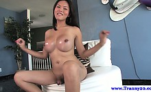 Sexy ladyboy cums after tugging her cock