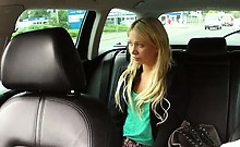 Blonde fucked leaned on backseat in fake taxi