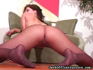Porn Tube of Jody Tugging Nylon Hose On Pussy