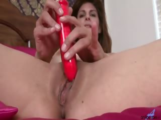 Porn Tube of Horny Mature Anilos Monique Gently Shoves A Stiff Dildo Into Her Shaved Mature Pussy