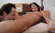 Long haired milf Sarah Bricks gets fucked in bed and craves