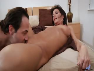 Porno Video of Long Haired Milf Sarah Bricks Gets Fucked In Bed And Craves For A Hot Cum Load On Her Face And Tongue