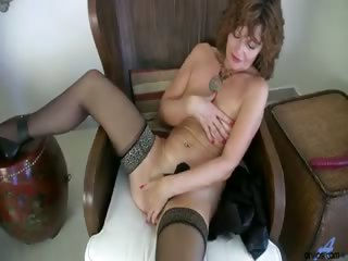 Porn Tube of Milf Strips Out Of Tight Leather, Rubs Her Smooth Naked Pussy And Dildos Herself To Orgasm In Stockings And Heels