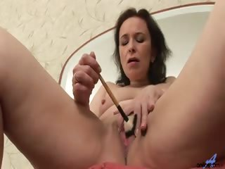 Porn Tube of Mature Housewife Tickles Her Twat With A Makeup Brush Until She Gets So Turned On That She Brings Her Dildo Out Of Hiding And Hides It In Her Honey Hole Instead