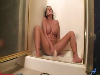 Porn Tube of Long Haired Wife Cleanses Her Dirty Cravings In The Shower By Bouncing Her Dripping Pussy On A Big Fake Dick