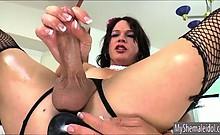 Shemale Gina Hart stuffed dildo in ass