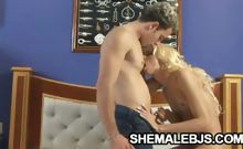 Blonde shemale jerking herself off