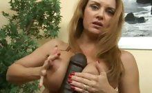 Janet using huge black dildo