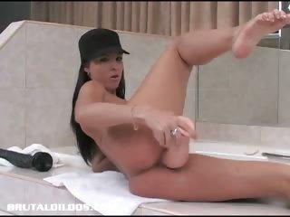 Porno Video of Angelina Ramming A Huge Dildo