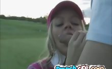 Slutty french girlfriend blowjob in the golf course