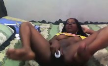 lascivious black slattern makes her pie hole wet with her