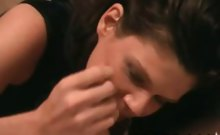 Ruttish and hussy mom keeps her clothes on and strokes a
