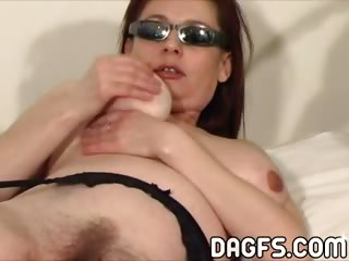 Porn Tube of Elderly And Almost Beautiful Mom Cherishes Herself With A Dildo And Her Hands