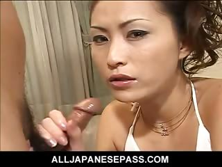 Sex Movie of Japanese Goddess In White On Her Knees Sucking Dick