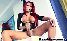 Shemale tugs her cock hard