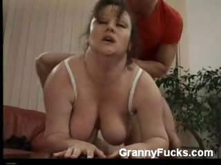 Porn Tube of Chunky Granny Gets Jackhammered