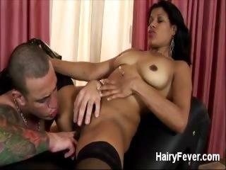Porn Tube of Hairy Pussy Slurped