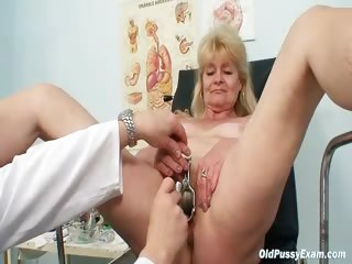 Porn Tube of Blond Grandma Kinky Pussy Exam With Enema