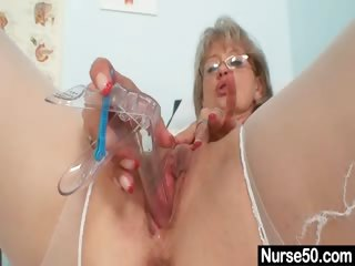 Porn Tube of Filthy Old Mom In Nurse Uniform Wild Masturbation
