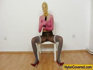 Porn Tube of Skinny Babe Kasia Linsey Nylon Mask Fetish