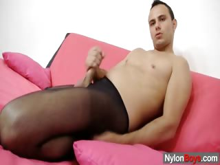 Porn Tube of Kinky Homo Boy In Nylon Tights Rubs To Cum