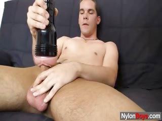 Porn Tube of Skinny Nylon Boy Carl Using A Male Sex Toy