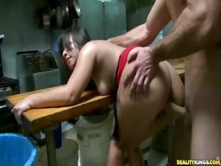 Porno Video of Check Out This Latin Hottie Getting Fucked Hard In The Back Kitchen.