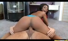 Megan is giving Voodoo a blowjob and then she begins riding