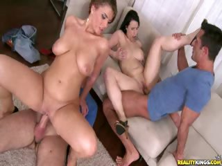 Porn Tube of Amy Rides Reverse Cowgirl While Chrissy Sucks Cock And Gets Fucked In Missionary Position.