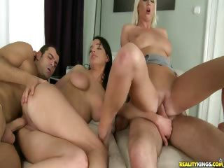 Porn Tube of Naomii And Her Blondie Frined Have A Hard Dick Party.
