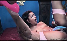 Petite ebony babe in high heels loves to fuck