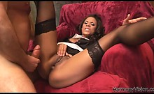 Hot black maid gets drilled from behind
