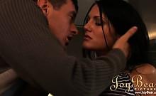 Dark haired stunner Sarah gets steamy with her boy