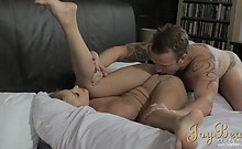 Luscious blonde Cathy pounded hardcore but sensual