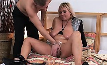 Nasty chubby MILF fucked hard in her swollen cunt