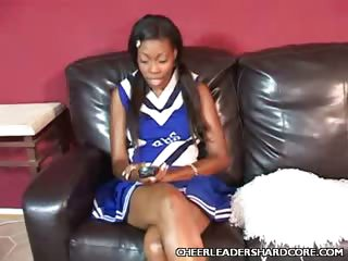 Porn Tube of Sweet Ebony Cheerleader Knobbed
