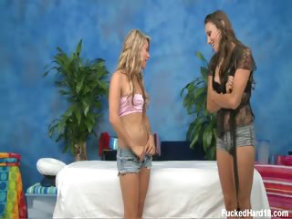 Porno Video of Cute 18yo Brunette Riley Gives Celeste The Massage Of Her Life. Watch These Two Fuck In Hot Lesbian Action!