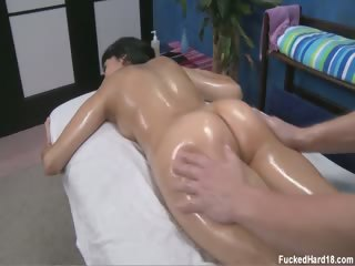 Porn Tube of Hot 18 Year Old Brunette Kimberly Gets Fucked Hard From Behind By Her Massage Therapist.