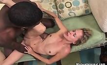 Black cock drills blonde slutty pussy