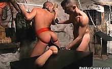 Horny gay gets bondage and fetish fingered and spanked